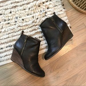 Lucky Brand | Yorque Leather Faux Fur Wedge Bootie